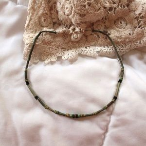 Green Wooden Beaded Choker Necklace w/ Gold Clasp